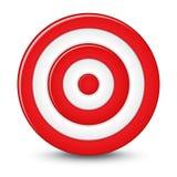 Het rode doel van het pijltjesdoel op witte achtergrond. Royalty-vrije Stock Foto's