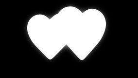Het rode eind blauwe harten dansen stock footage