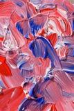 Het rode en blauwe acryl schilderen Stock Foto's