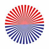 Het rode en blauwe element van het zonnestraalontwerp van pijlpictogram Samenvatting cir stock illustratie