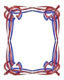 Het rode en Blauwe frame van Linten Stock Foto's