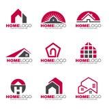 Het rode en grijze vastgestelde ontwerp van het Huisembleem stock illustratie