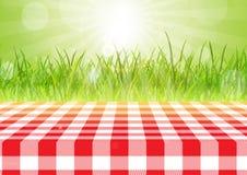 Het rode en witte tafelkleed tegen a defocussed achtergrond 0407 Royalty-vrije Stock Afbeeldingen