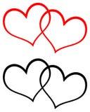 Het rode en zwarte art. van de twee hartenklem Stock Afbeeldingen