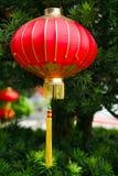 Het rode feestelijke Chinese lantaarn hangen op een pluizige groene Kerstboom stock foto's