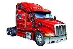 Het rode geïsoleerde art. van de vrachtwagenillustratie kleur Stock Foto's