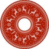 Het rode gebreide patroon van de deers vectorcirkel Stock Fotografie