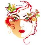 Het rode gezicht van de vrouw, vector illustratie