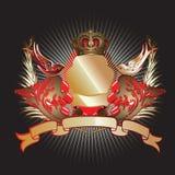 Het rode Gouden 3D Schild van Krommen Stock Afbeeldingen