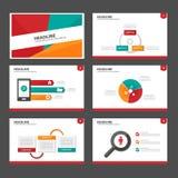 Het rode groene en groene infographic element en pictogram vlakke ontwerp van presentatiemalplaatjes plaatste voor het pamfletweb Stock Afbeeldingen