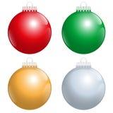 Het Rode Groene Gouden Zilver van kerstboomballen Stock Foto