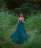 Het rode haitmeisje gaat naar het bos die zich met aantrekkelijk terug naar de camera bevinden stock foto