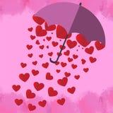 Het rode hart is in een mooie roze paraplu op roze achtergrond FO vector illustratie
