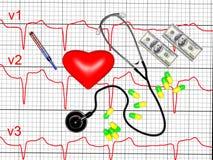 Het rode hart en een stethoscoop, 3d cardiogram, geven terug Royalty-vrije Stock Foto