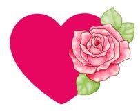 Het rode hart met nam toe Stock Foto's