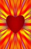 Het rode hart in het midden divergeert de gekleurde strepen aan de randen Voor de Moedersdag, Valentijnskaartendag Royalty-vrije Stock Foto