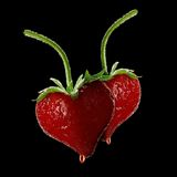 Het rode hart van de aardbei. Royalty-vrije Stock Afbeeldingen