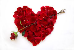 Het Rode Hart van de Dag van valentijnskaarten met Roze Pijl Stock Fotografie