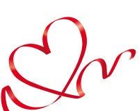 Het rode hart van de lintliefde Stock Afbeelding