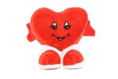 Het rode hart van de valentijnskaart dat op wit wordt geïsoleerd Stock Foto