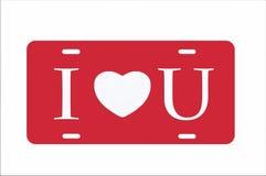 Het rode Hart van I u Nummerplaat Royalty-vrije Stock Afbeelding