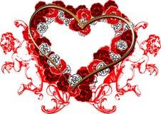 Het rode Hart van Rozen en Twee Engelen. stock illustratie