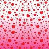 Het rode Hart van Valentine de Dag en op kleurrijke achtergrond De Dag van vectorvalentine op witte en roze Achtergrond Stock Foto