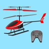 Het rode helikopter plaything en zwart klein controlebord met knopen stock illustratie