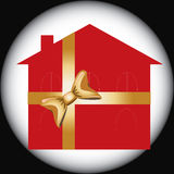 Het rode huis van de Gift voor reclamegebruik Stock Afbeeldingen