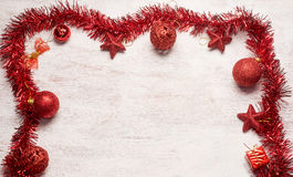 Het rode kader van de Kerstmisdecoratie Stock Afbeeldingen