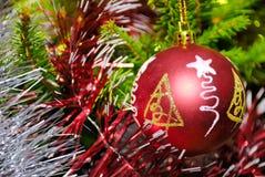Het rode Kerstmisbal hangen op pijnboomtakje Stock Afbeeldingen