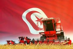 Het rode landbouwbedrijf landbouw maaidorser op gebied met de vlagachtergrond van Tunesië, het concept van de voedselindustrie -  vector illustratie
