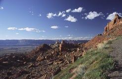 Het rode landschap van het rotsplateau in noordelijk Arizona stock fotografie