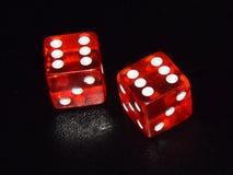 Het rode lichtende casino dobbelt op zwarte nadenkende achtergrond Stock Fotografie