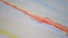 Het rode Lijn Schilderen De achtergrond van de waterverf stock videobeelden