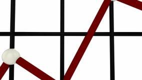 Het rode lijngrafiek toenemen stock videobeelden