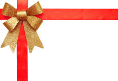 Het rode lint van de gift en gouden boog Royalty-vrije Stock Foto