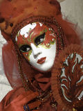 Het rode masker van brandcarnaval in Venetië, Italië Royalty-vrije Stock Fotografie