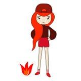 Het Rode meisje van het pretbeeldverhaal Royalty-vrije Stock Afbeeldingen