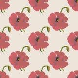 Het rode naadloze patroon van de papaverbloem Stock Fotografie