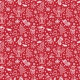 Het rode naadloze patroon van Kerstmis Vector royalty-vrije illustratie