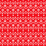 Het rode naadloze patroon van sneeuwvlokken Stock Afbeelding