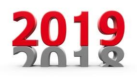 het rode nieuwe jaar van 2018-2019 stock illustratie