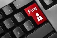 Het rode ontslag van de de brandwerknemer van de toetsenbordknoop Stock Foto
