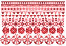 Het rode Ornament van Bloemen Stock Foto