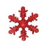 Het rode ornament van de sneeuwvlok Stock Fotografie
