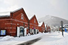 Het rode Pakhuis van de Baksteen (Hakodate) Stock Afbeeldingen