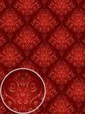Het rode Patroon van de Stijl van het Damast Royalty-vrije Stock Foto