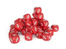 Het rode percent dobbelt Stock Afbeeldingen