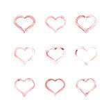 Het rode pictogram van de hartinzameling, liefdesymbool Ontwerpelementen voor de dag van Valentine ` s Royalty-vrije Stock Afbeelding